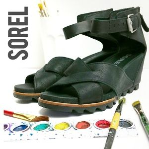 Sorel Joanie II Leather Wedge Sandals Size 8
